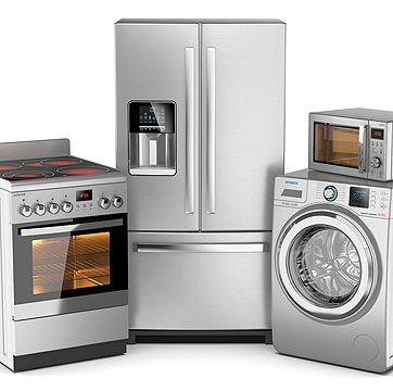 Photo of a refrigerator, a dryer, a microwave, and an oven.