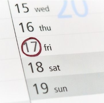 A calendar with Friday the 17th circled as the day for HVAC Repair in Bloomington IL